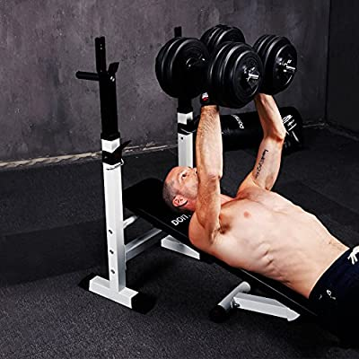 CCLIFE Multifunctional weight bench - workout bench with bar supprt and dip station from CCLIFE