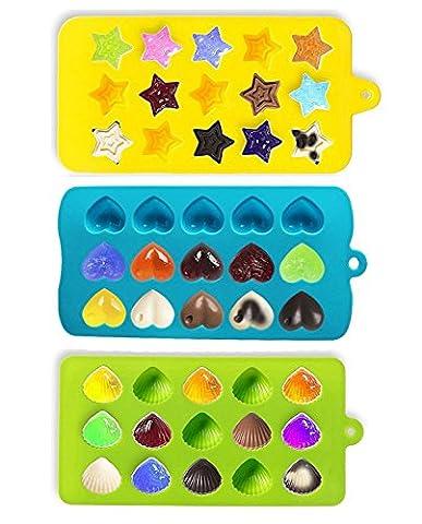Joyoldelf Bonbons & Moules Moules à glaçons - Coeurs, Stars & Shells - Silicone Chocolate Mold - Fun, les enfants de jouets Set - Utiliser pour les gâteaux, chocolat, crème glacée, tartes, muffins, bougies, savons, Jello,
