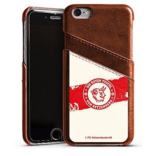 Apple iPhone 7 Lederhülle Leder Case Leder Handyhülle 1. FC Kaiserslautern Fanartikel FCK Fußball Leder Case Kastanienbraun