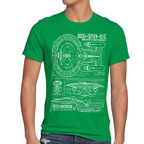 style3 NCC-1701-D Blaupause T-Shirt Herren trek trekkie star, Größe:M;Farbe:Grün (Big Star Premium Jeans)