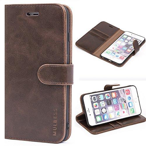 Mulbess Handyhülle für iPhone 6S Plus Hülle, Leder Flip Case Schutzhülle für iPhone 6 Plus Tasche, Vintage Braun