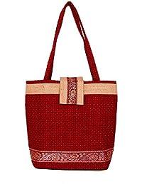 Womaniya Women's Handbag (Red) (Handicraft Jute Bag)