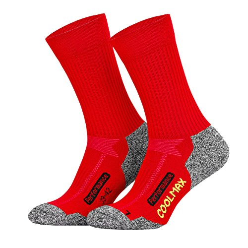 Piarini 2 Paar Coolmax Wandersocken Outdoorsocken Funktionssocken lang | rot 39-42 - Damen Outdoor-quarter Socken