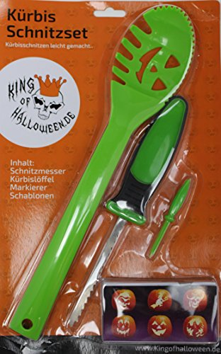 KING OF HALLOWEEN.DE-9 Teilig-inkl 6Schnitzvorlagen-Halloween Deco-einfache Kürbis Deko-Halloween Party-Kürbis Schnitzset -für (Kostüm Party Makeup Tutorial)