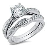 Sterling Silver 925 Round Brilliant Cut Cubic Zirconia CZ Engagement Ring