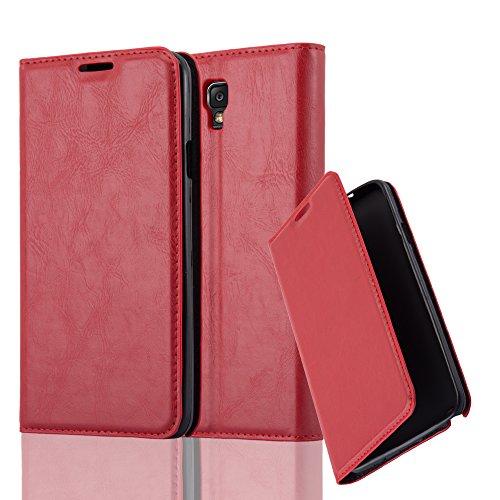 Cadorabo Hülle für Samsung Galaxy Note 3 NEO - Hülle in Apfel ROT - Handyhülle mit Magnetverschluss, Standfunktion & Kartenfach - Case Cover Schutzhülle Etui Tasche Book Klapp Style