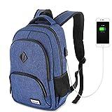 wellead Laptop Rucksack Herren für 15.6 Zoll Schulrucksack Damen Laptop Rucksack mit Laptopfach,Wasserdicht,USB-Ladeanschluss,20-35L - Blau
