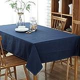Baumwolle und Leinen Tischdecke Dunkelblau 135x140cm einfarbig Tischtuch Wasserdicht Abwaschbar Schmutzabweisend Tischwäsche