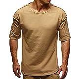 SANFASHGION Mode Herren Somme Crew-Neck T-Shirt,Slim-Fit Basic Tops Sport Beiläufige Kurzarm Top Bluse