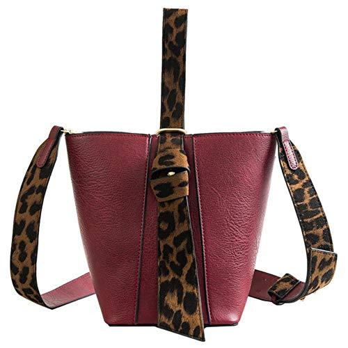 BVYO HOCODO Bolso de Cubo con Estampado de Leopardo de Moda Bolsos de Mensajero para Mujer Bolsos de Hombro Ocasionales Bolso de Dos Piezas de Cuero de PU con asa Superior para Mujer, Rojo