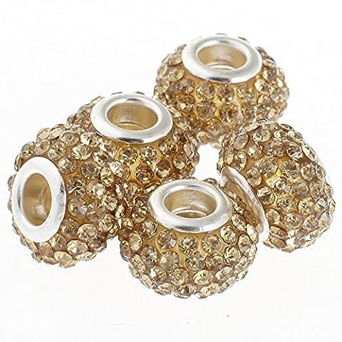 Rubyca gros trous 15mm cristal Charm perle pour bracelet charms européens, Light Colorado, 100 PCS