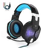 Gaming Headset PS4, marsboy Gaming Kopfhörer mit Mikrofon LED Effekt für PS4 PC Film Gaming Spielen Chat Musik Blau.