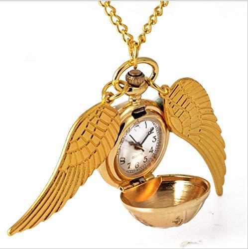 GUHUA Taschenuhr Halskette Anhänger Kette Unisex Geschenke Uhr Goldene kleine Lichtkugel mit großen Flügeln (Taschenuhr Halskette Flügel)