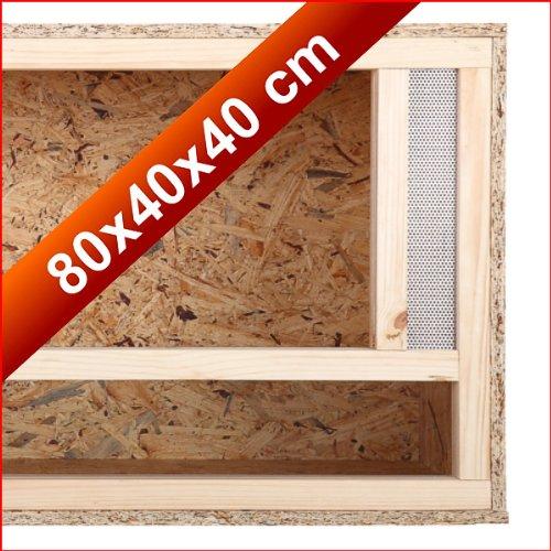 REPITERRA Holz Terrarium mit Frontbelüftung aus OSB Platte 80 x 40 x 40 cm