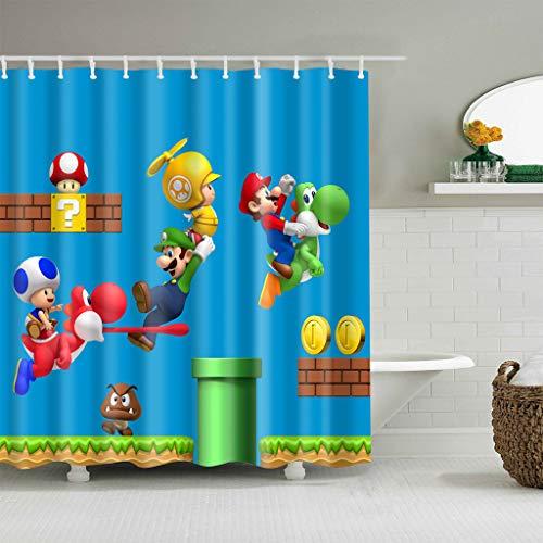 ZHANGSHUQI Cartoon Charakter auf blauem Hintergrund rot Mario Badezimmer Duschvorhang strapazierfähiger Stoff Schimmel Bad Zubehör Kreativ mit 12 Haken 180 x 180 cm (Mario Schimmel)
