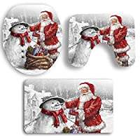 Marooma 3 Piece Bathroom Toilet Seat Cover and Rug Set Bath Mat,Snowman Ornaments Snowy Night for Christmas Decorations Bathroom Decor