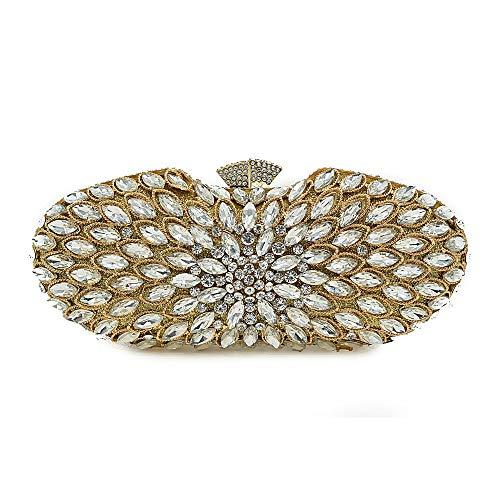 Minyine Prom Bag for Lady Damenhandtasche Luxury Fashion Diamond Abendtasche Evening Shoulder Bag (Farbe : Gold, Größe : 20 * 9 * 5cm)