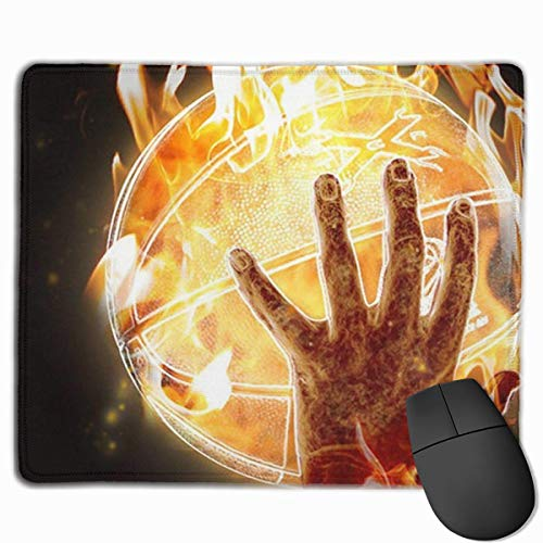 ASKSSD Mouse Pad Fire Hands Basketball Art Rectangle Rubber Mousepad 11.81 X 9.84 Inch Gaming Mouse Pad with Black Lock Edge (Basketbälle In Bulk Billig)