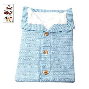 Sacos de Dormir + Pegatinas de Navidad para Bebe recién Nacido Manta de Punto Crochet Invierno cálido Bolsa de Dormir… 13