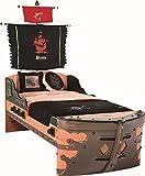 Froschkönig24 Cilek PIRATE S Bett Kinderbett Piratenbett Schiff Braun 90x190 cm, Matratze:mit
