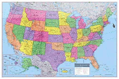 Vereinigten Staaten 3D Wall Map Poster 36x 24gerollt laminiert-2018