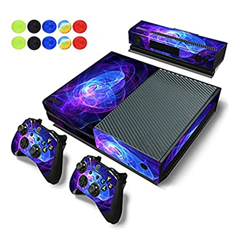 Skin For Xbox One - Morbuy Vinyl Full Body Protective Sticker Cover Decal For Microsoft Xbox One Console & 2 Dualshock Controller Skins + 10pc Silicone Thumb Grips (Purple Circle)
