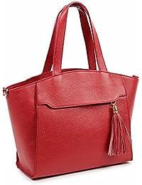 1f48df2be Bolso Tote mujer en piel grano de tacto suave al hombro y bandolera color  rojo, cierre cremallera, bolsillo…
