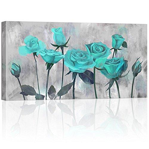 Visual Art Decor Blumen Prints Antik Blooming Blaugrün Rose auf Grau Bild auf Leinwand Gedruckt Wrap Blumenmuster Art Aufkleber für Home Wohnzimmer Schlafzimmer Wand Dekoration Art Deco 1 Piece grün - Grau-wand-kunst Teal