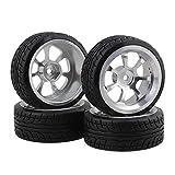 BQLZR Durable Schwarz RC 1:10 On-Road Racing Car Kunststoff Drift Reifen & Silber Aluminum Alloy 7 Speichen Felgen 4er Pack