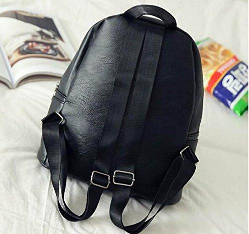 Neue Doppelte Rucksack Handtaschen Persönlichkeit Paar Rucksack PU Einfarbig Schultasche Red