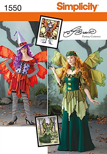 Simplicity Damen Schnittmuster 1550 Fairy Fancy Dress Kostüm mit Flügeln (Fairy Fancy Dress Kostüme)