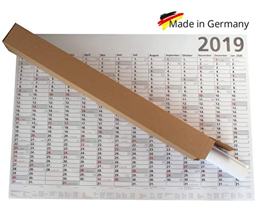Plakatwandplaner Optima 2019 groß, Plakatkalender XXL 100 x 70 cm, Wandkalender mit Ferienübersicht, Sonn- und Feiertage in Rot, gerollt geliefert!