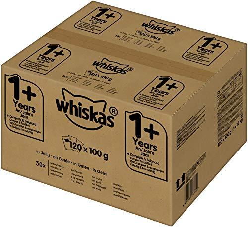 Whiskas Katzenfutter für erwachsene Katzen, saftige Geflügelauswahl in Gelee, 1+, 120 Portionsbeutel (120 x 100 g)
