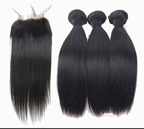 SAOMAI®7A Brasilien Gerade Haarschmuck Perücken Haarverlängerungen Haarverlängerungen 100% Menschliches Haar 3 Strängen mit schließung (10''10''10''+10'', frei teil schließung)