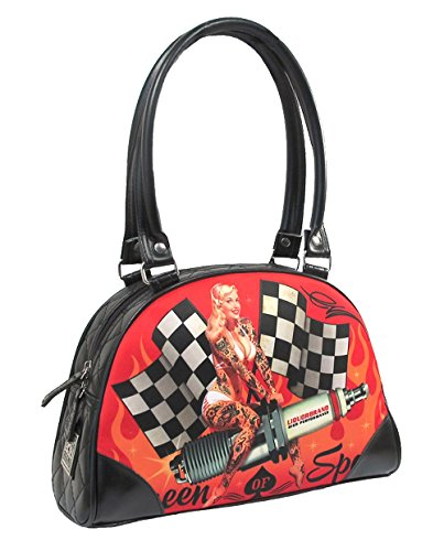 Liquor Brand Queen of Speed Racing Flags Sparkplug Pin Up Bowling Tasche Schwarz