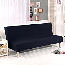 Aisaving Funda de sofá Cama de Color sólido sin Brazos, Funda de poliéster elástica de