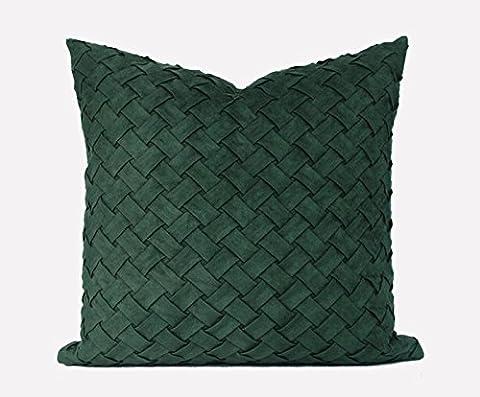 Exemple de chambre moderne et minimaliste soft pack oreiller coussin canapé en cuir vert foncé forfait contre non pelucheux côté tissé main sleeper