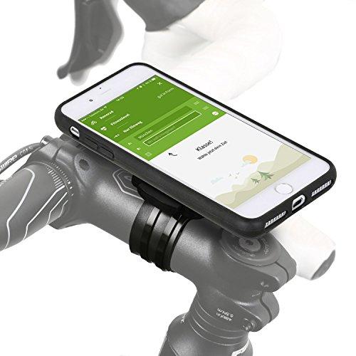Wicked Chili QuickMOUNT 3.0 Fahrrad Halterung kompatibel mit iPhone 8 Plus / 7 Plus Bike Kit mit Case und Regenhülle (Handyhalterung, Ladekabel- und Kopfhörer Anschluss) schwarz/matt