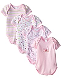 SpaSilk Baby-Girls Newborn 4 Pack Flower Bodysuit