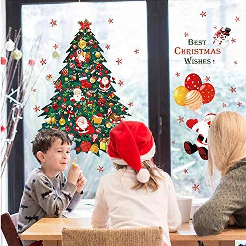 likangning Wandaufkleber Weihnachtsbaum Weihnachtsmann Wandaufkleber Weihnachtsschmuck Neujahr Glasfensteraufkleber Wohnkultur