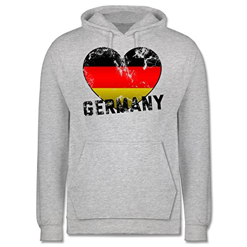 EM 2016 - Frankreich - Germany Herz Vintage - Männer Premium Kapuzenpullover / Hoodie Grau Meliert