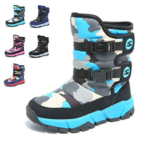 populalar Kinder Schuh Jungen Winterschuhe Stiefel Stiefeletten Wanderschuhe Camouflage rutschfeste Gummischuhe Schuhe für Unisex-Kinder Outdoor Blue 25 EU