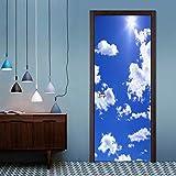 DSAOMO Stickers Porte Poster Ciel Bleu et Nuages   Blancs Papier Peint Porte Trompe l'oeil pour Salon Chambre Décoration De La Maison Stickers Muraux Imperméable Stickers Amovibles 77x200cm(B x H)