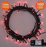 Lichterkette Weihnachtsbeleuchtung außen 100 LED Rot innen lichterkette weihnachtsbaum Gedächtnisfunktion, Netzbetriebene 10m Lit-Länge- Grünes Kabel
