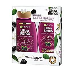 Garnier Ultra Blends Henna and Blackberry Shampoo, 180ml with Free Conditioner, 75ml