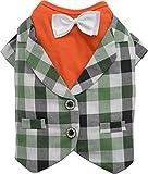 Doggy Dolly FP-C276 Weste mit Shirt Retro für Mops und Französische Bulldogge, orange/grün Kariert, Größe : M
