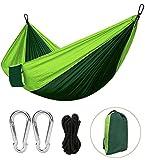 Outdoor Hängematte Wasserdichte Camping Hangematte aus  Ultraleicht  Nylon 300kg Tragfähigkeit fuer Reisen Strand Garten (270 x 140 cm) Grün von Eastshining