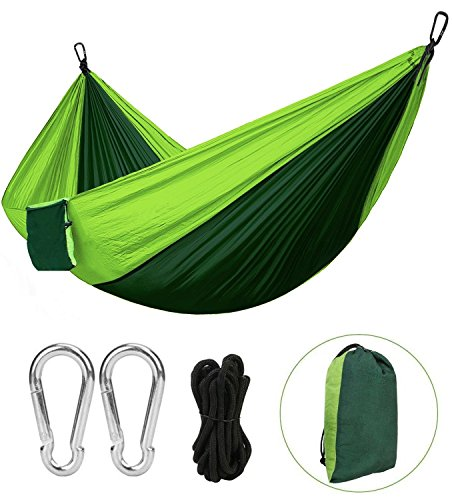 HAUEA Portable Travel Camping Hammock Ultralight Double Portable Hammocks with Adjustable Tree Straps and Steel Carabiners Max Load 300kg for Outdoor Sleeping Camping Beach Yard