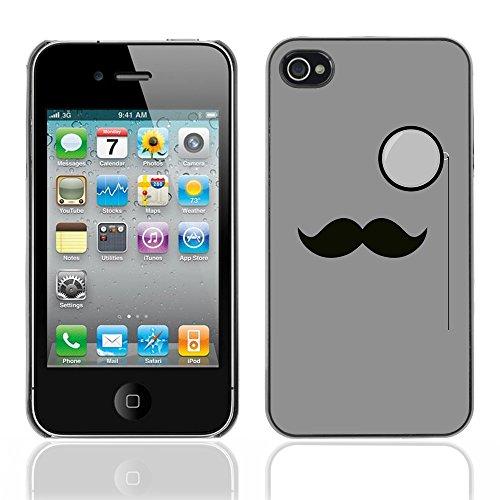 Graphic4You Mustache Schnurrbart Lustig Design Harte Hülle Case Tasche Schutzhülle für Apple iPhone 4 und 4S Design #8