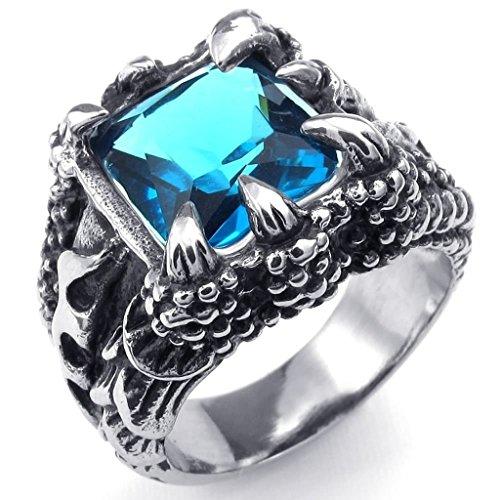 Adisaer Herren Ring Edelstahl Klauen mit Platz Kristall Ringe Blau Silber Für Männer Ring Größe 54 (17.2) (Psy Kostüme)